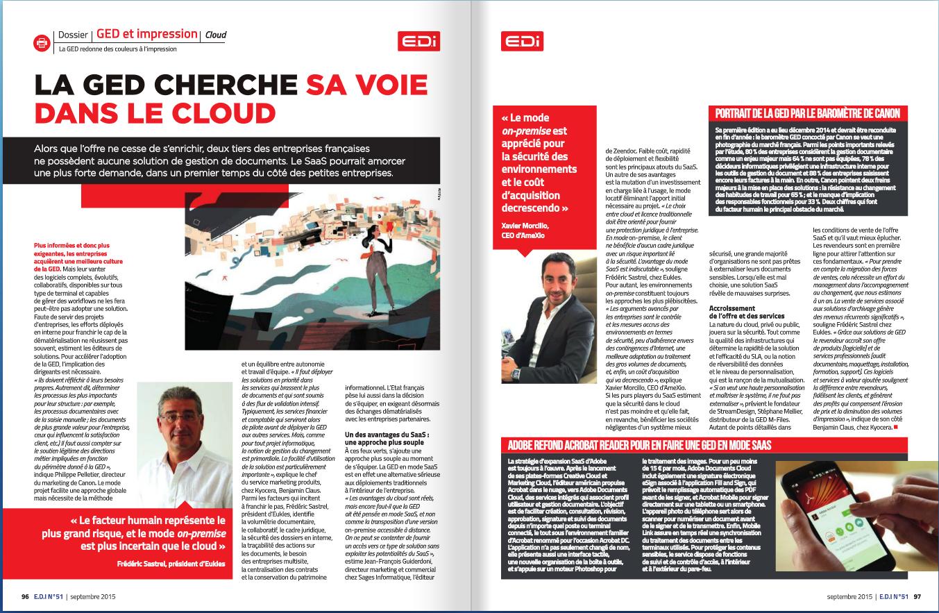 Presse magazine spécialisée - EDIn°51 - Interview sur la GED en cloud