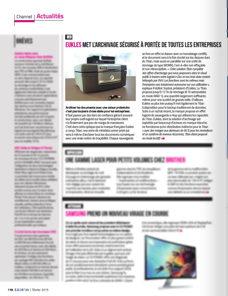 Presse magazine spécialisée - Article nouveauté - EDI n°45