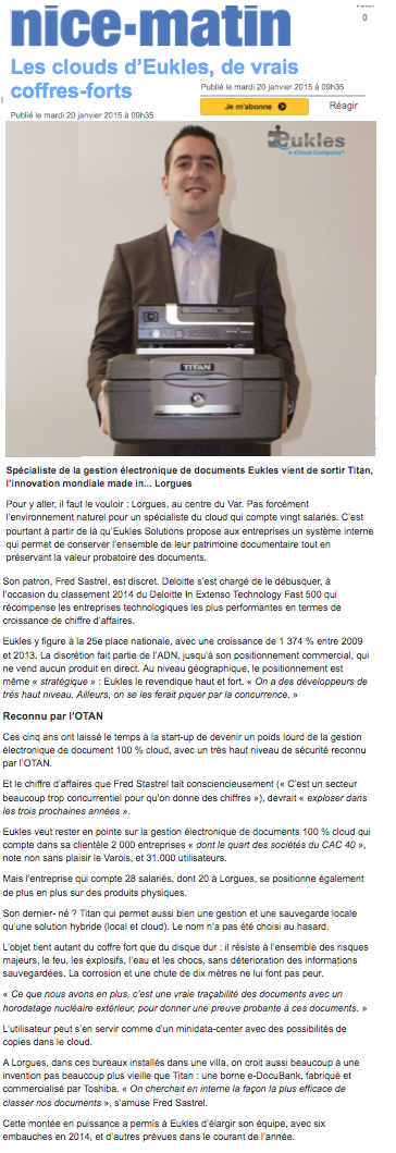 Var Matin - ÉCONOMIE janvier 2015 (web + presse papier régionale)