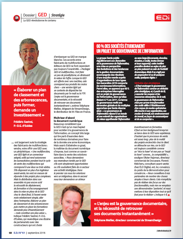EDI n°61 - Septembre 2016 - Interview GED connectée collaborative